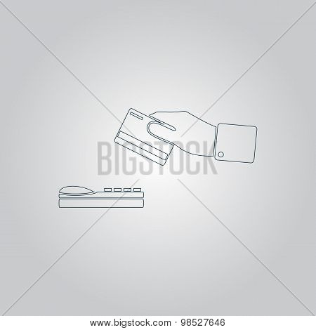 Hand swiping a credit card symbol