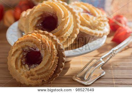 German Ox Eye Cookies On A Table