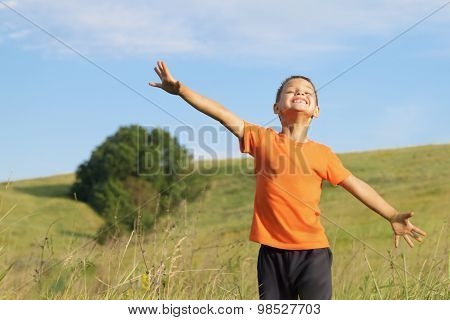 Young Happy Child Playing In  Meadow.freedom Concept.