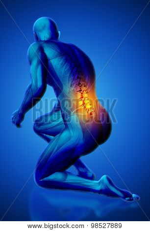 3D blue male medical figure with lower spine highlighted in kneeling position
