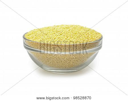 white millet in a glass bowl