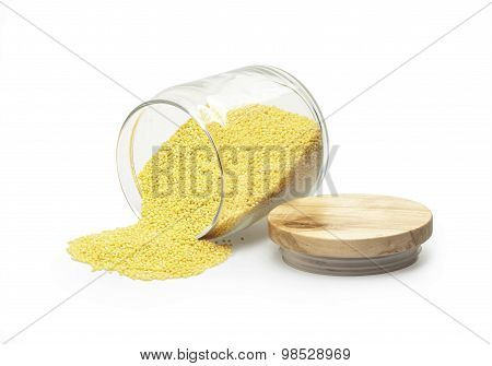 white millet in a glass jar