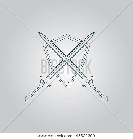Two swords and shield