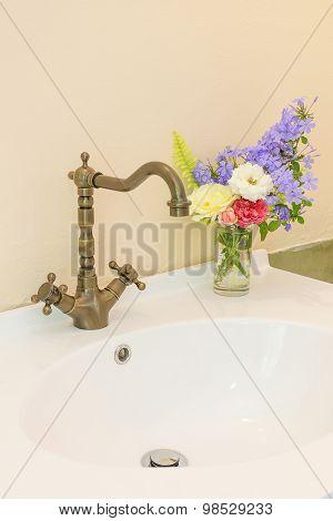 Vintage Washbasin In Bathroom