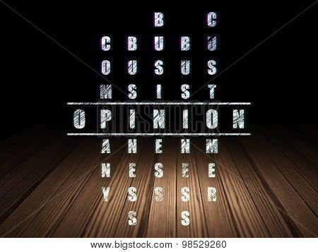 Advertising concept: word Opinion in solving Crossword Puzzle