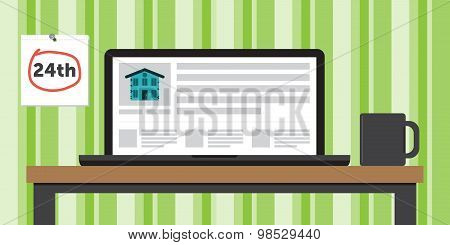 Apartment for Rent Website Shown on Laptop