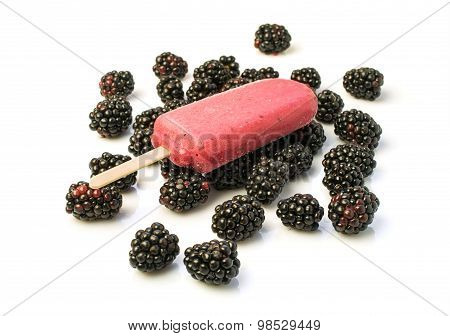 Homemade Ice Lolly With Blackberries