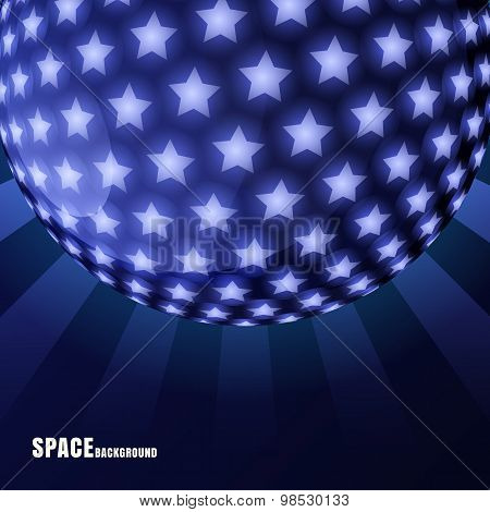 Vector Abstract Sphere With Shining Stars And Rays, Space Background.