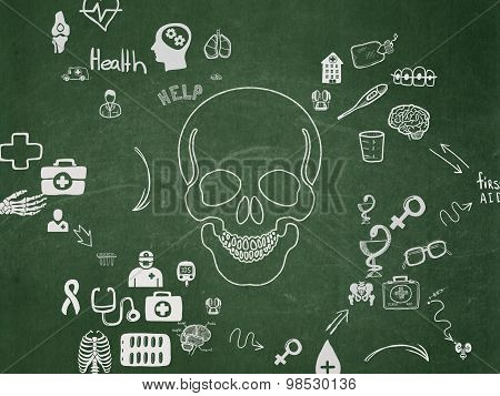 Health concept: Scull on School Board background