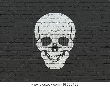 Healthcare concept: Scull on wall background