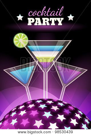 Vector Abstract Night Club Party Background. Sphere With Shining Stars And Three Multicolor Coctails