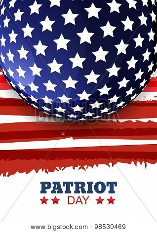 Patriot Day Of Usa Or Independence Day. Vector Abstract Watercolor Grunge Vertical Background With P