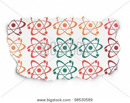 Science concept: Molecule icons on Torn Paper background
