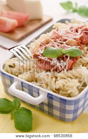 Italian Homemade Pasta With Tomato Sauce, Basil And Parmesan Cheese