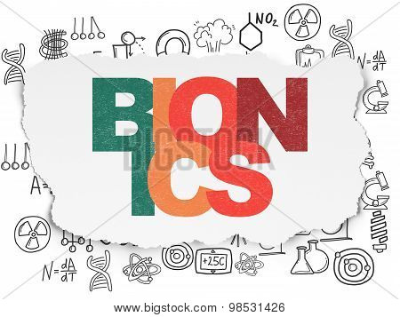 Science concept: Bionics on Torn Paper background