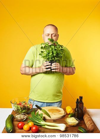 Middle-aged Man Cook Fresh Salad