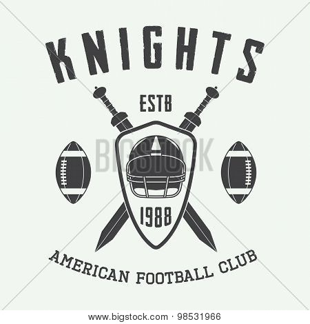Vintage Rugby And American Football Label, Emblem Or Logo.
