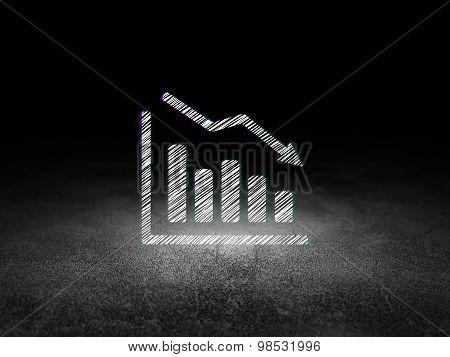 News concept: Decline Graph in grunge dark room