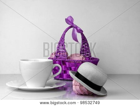 Zephyr Purple Basket, Cup Saucer And Marshmallows