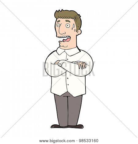 cartoon nervous man sweating