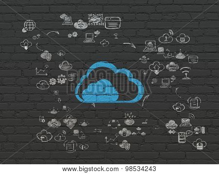 Cloud networking concept: Cloud on wall background
