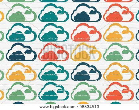 Cloud networking concept: Cloud icons on wall background