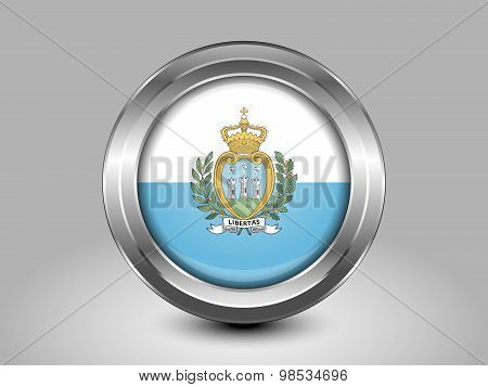 Flag Of San Marino. Metal Round Icon