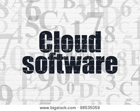 Cloud computing concept: Cloud Software on wall background