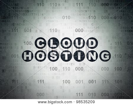 Cloud networking concept: Cloud Hosting on Digital Paper background