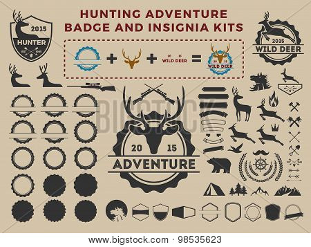 Hunting And Adventure Badge Logo Element Kits For Creator. Camping