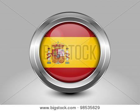 Flag Of Spain. Metal Round Icon