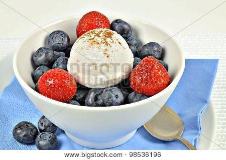 Vanilla Ice Cream with Strawberries and Blueberries