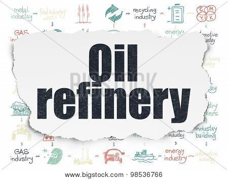 Manufacuring concept: Oil Refinery on Torn Paper background