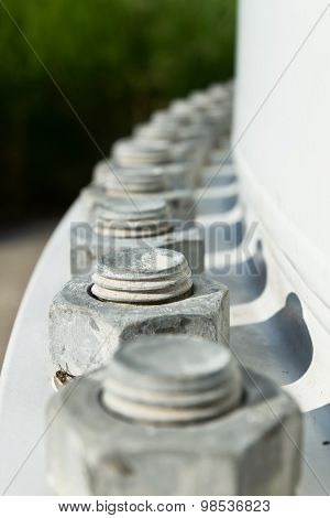 Big Screw And Nut At The Bottom Of A Wind Turbine