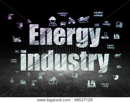Industry concept: Energy Industry in grunge dark room