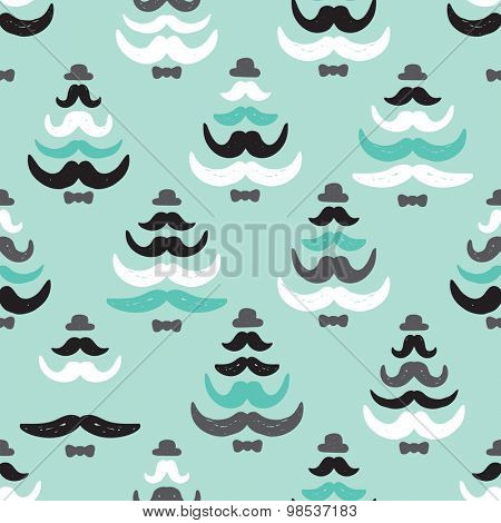 Seamless mint holiday mustache hipster funky christmas tree illustration background pattern in vector