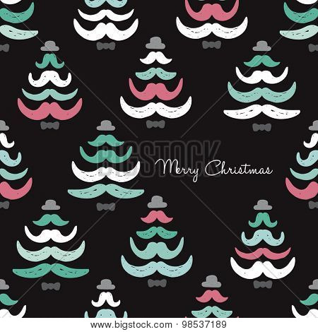 Crazy funny hipster merry christmas tree mustache forest illustration postcard cover template design in vector