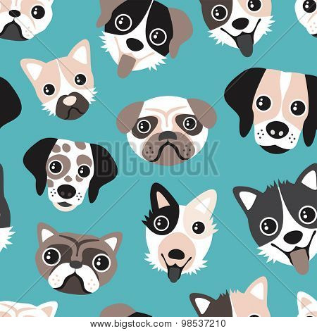 Seamless puppy love blue retro pets dalmatian pug bull dog and other breeds cute kids illustration background pattern in vector