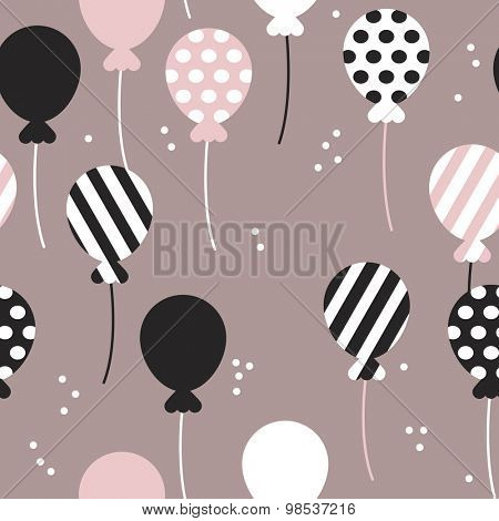 Seamless polka dots and chevron stripes birthday party festive balloon vintage style illustration background pattern in vector