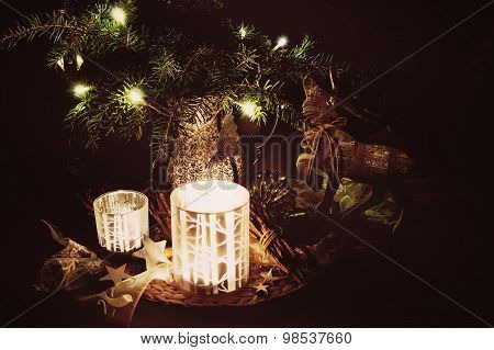 Christmas Decoration With Pine Branches, Reindeer And Candlelight