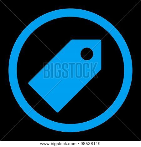 Tag flat blue color rounded vector icon