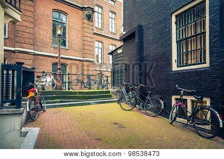 Quiet street in Amsterdam, Netherlands