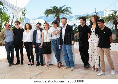 Vincent Cassel, Emmanuelle Bercot, Maiwenn Le Besco, Louis Garrel attend the 'Mon Roi' photocall during the 68th annual Cannes Film Festival on May 17, 2015 in Cannes, France.