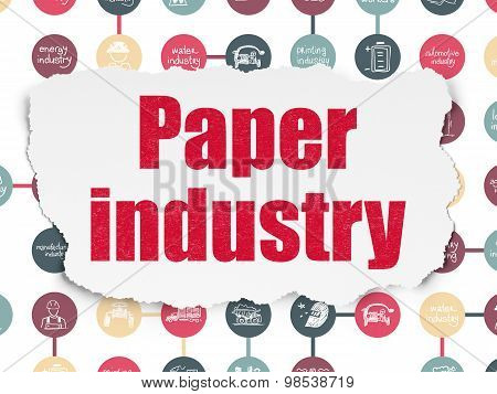 Manufacuring concept: Paper Industry on Torn Paper background