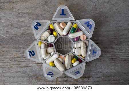 Medicines Daily Set In A Pillbox