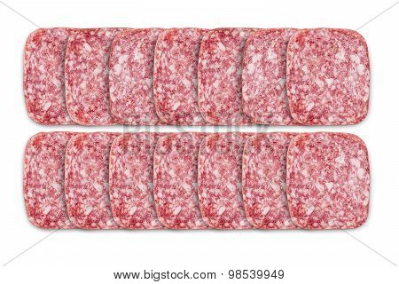 Square slices of salami isolated on white
