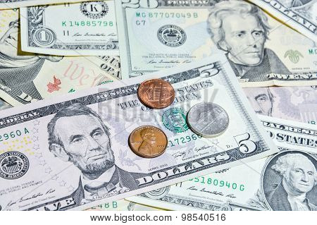 American Dollar Bills With Coins