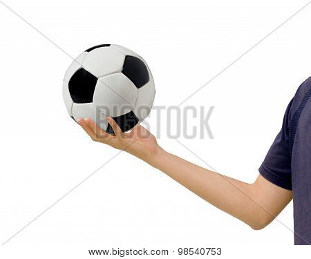 Man Holds A Soccerball In Hand