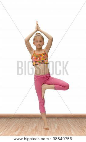 Nice Little Girl Practices Yoga