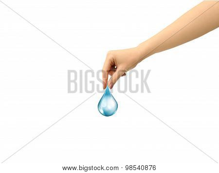 Water Drop In A Female Hand